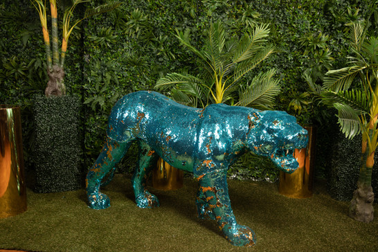 TIGER SEQUIN TEAL GOLD