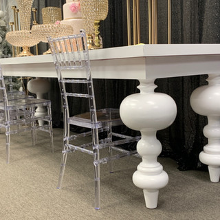Dining Table Bubble Leg White White