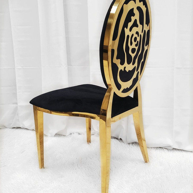 Dining Chair Flower Gold Black
