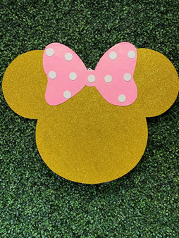 Minnie Mouse Gold Glitter Pink Bow