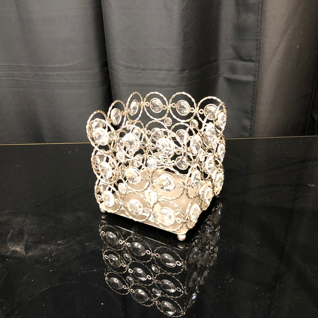 Candle Holder Square Crystals $20