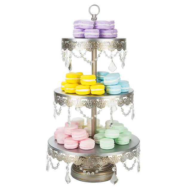 DESSERT STAND WITH CRYSTALS 3 TIER SILVE