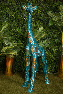 GIRAFFE SEQUIN TEAL GOLD
