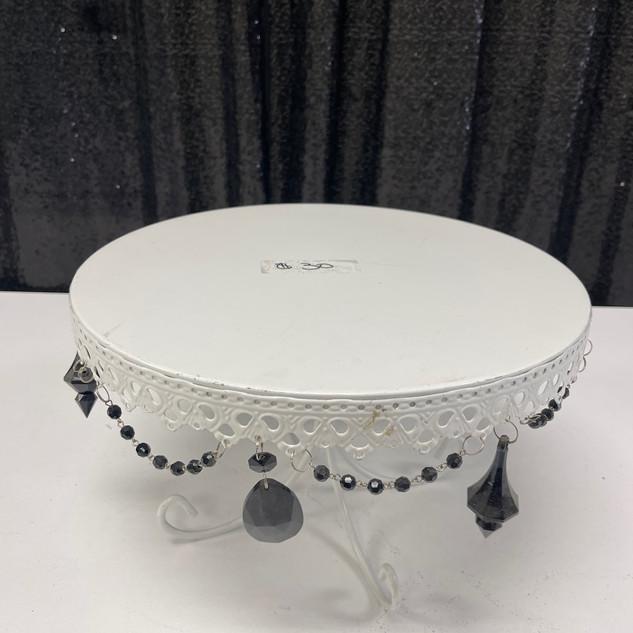 White Cake Stand Black Beads