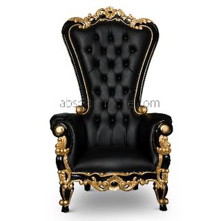 Black Slight Gold Trim Throne $450