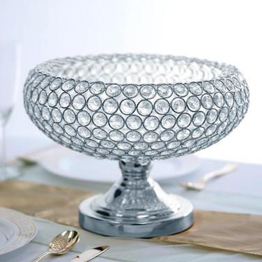 Goblet Crystal Vase 9 Tall 12 Wide Silve