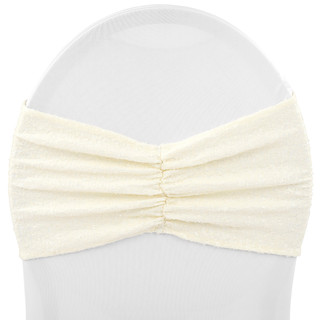 Ruffled Spandex Sequin Chair Sash Ivory