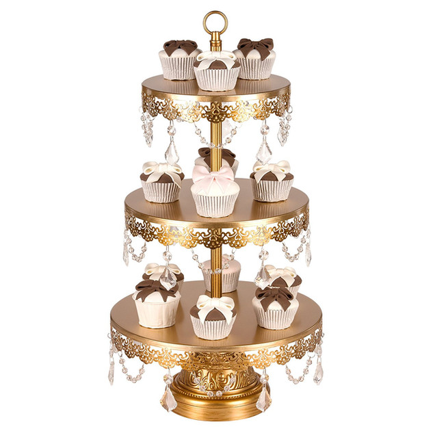 DESSERT STAND WITH CRYSTALS 3 TIER GOLD
