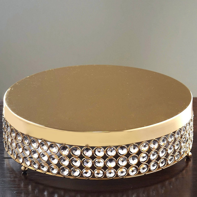 Cake Stand Crystal Round 16X4 Gold