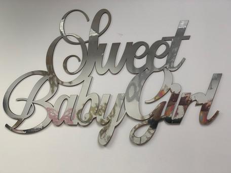 Sweet Baby Girl Silver Wall Prop
