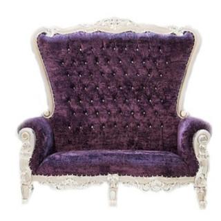 Loveseat Purple Silver Throne $700