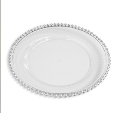 Charger Plate Clear Beaded Silver