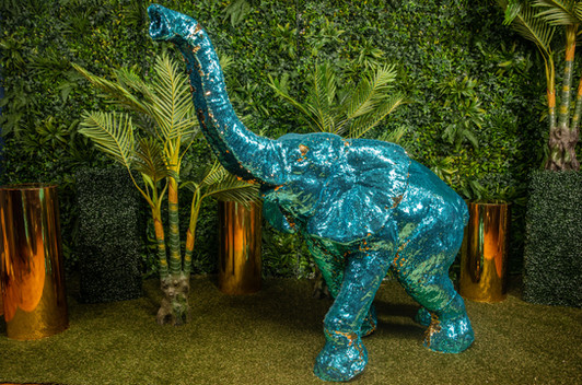 Sequin Elephant Teal Gold