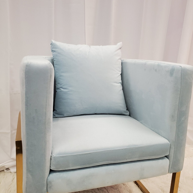 Lounge Chair Baby Blue Gold Frame