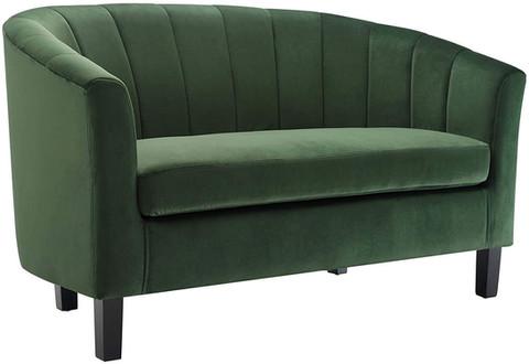 Double Modern Small Velvet Emerald Green