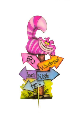 Cheshire Cat Wooden Standup Prop 60 inch