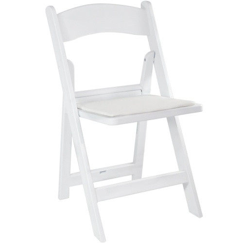 Cushioned Folding Resin Chair White