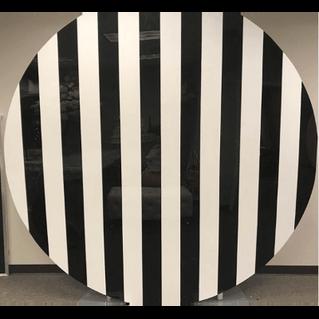 Round Wall Acrylic Stripe Black White