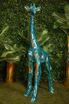 Sequin Giraffe Teal Gold