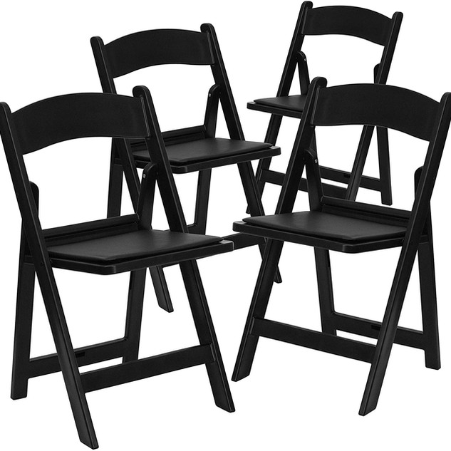 Cushioned Folding Resin Chair Black