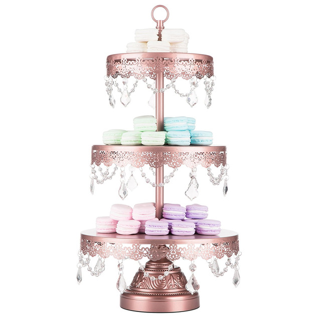 DESSERT STAND WITH CRYSTALS 3 TIER ROSE