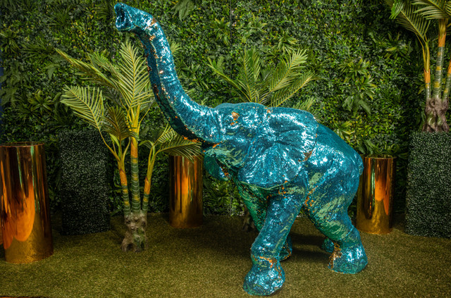 ELEPHANT SEQUIN TEAL GOLD