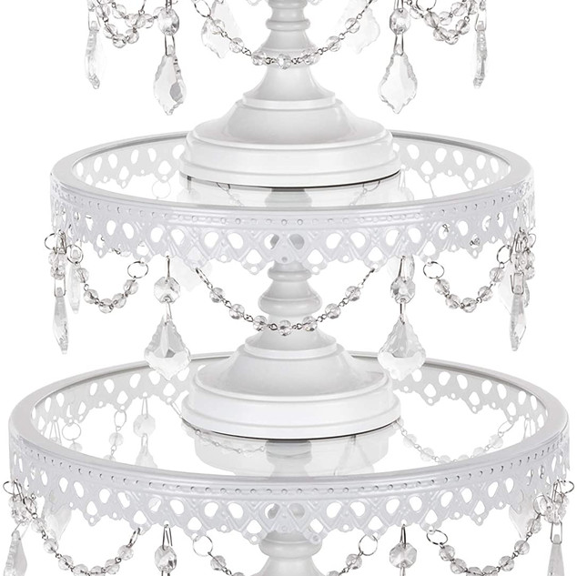3pc Set Glass Crystal Cake Stand White