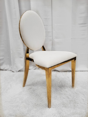 Dining Chair Gold White