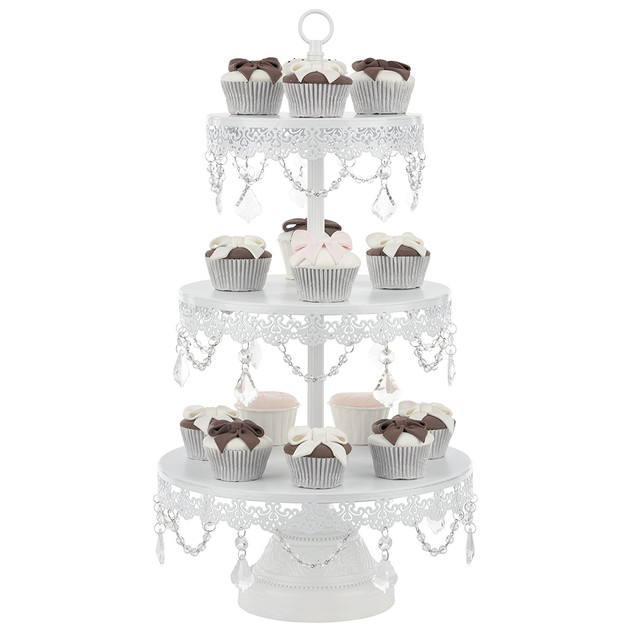 DESSERT STAND WITH CRYSTALS 3 TIER WHITE