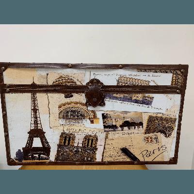 Vintage Trunk Paris Theme Small 27WX16HX