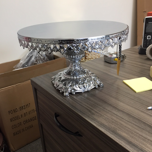 CAKE STAND SILVER 12X8 SQUARE BASE