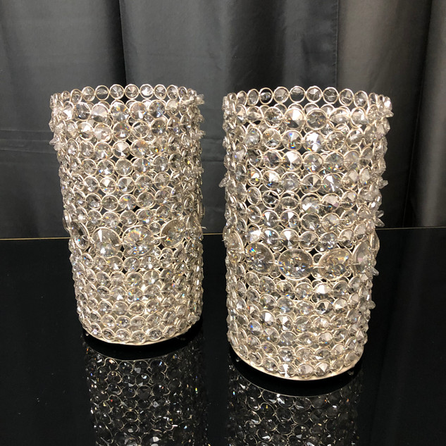Candle Holder Gold Crystals $20