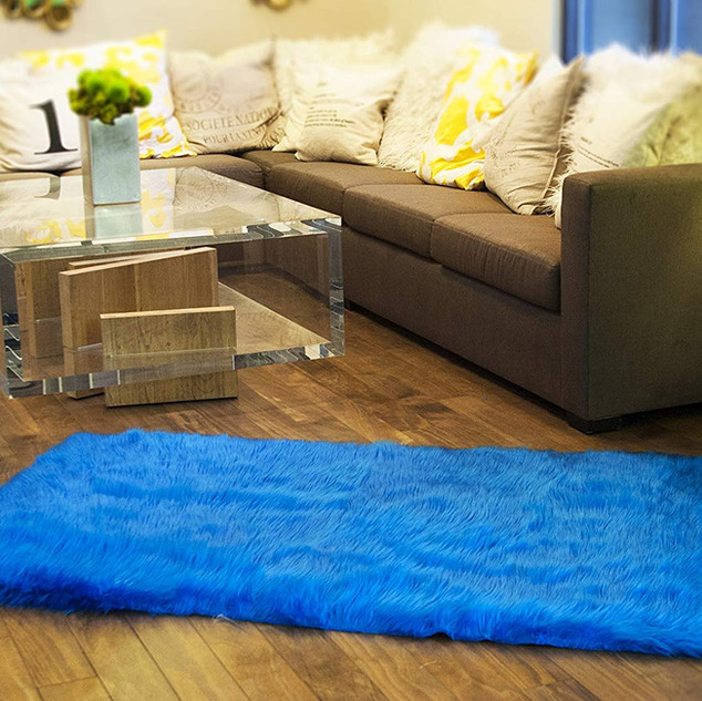 Faux Fur Rug Royal Blue 5X8