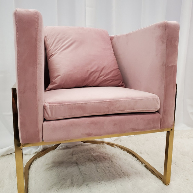Lounge Chair Pink Gold Frame