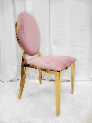 Dining Chair Gold Pink
