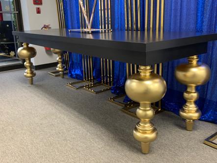 Dining Table Bubble Leg Black Gold