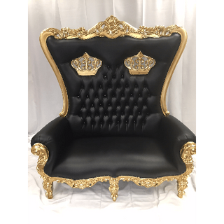 Loveseat Bllack Gold Crown Throne $700