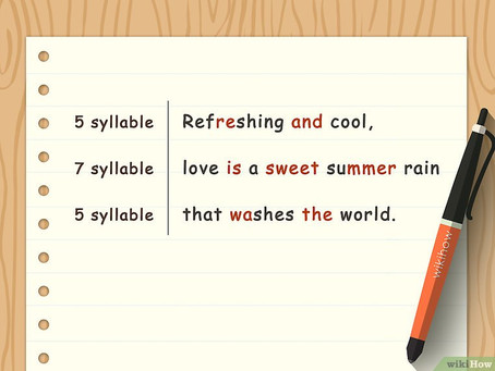 And...Haiku times! 5-7-5. Competition.
