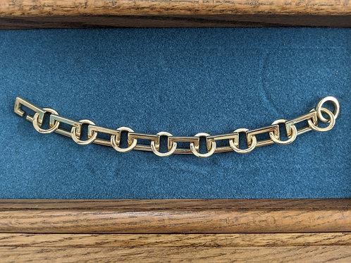 Solid 14k Frame Link Chain Bracelet