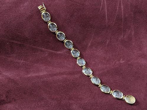 18k Rock Crystal Scarab Bracelet