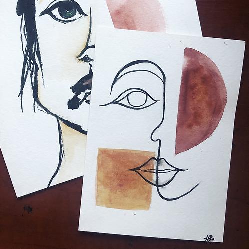 Original Drawing - Ink and Watercolor