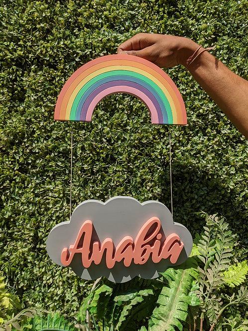 Rainbow Clould Hanging Nametag