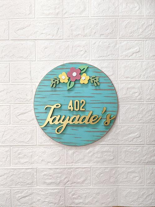 Circular Nameplate Floral