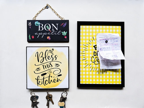 Eat drink love magnet board + Bless this kitchen hooks + bon appetit