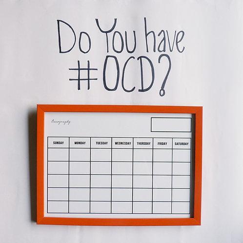 Write and erase calendar - orange
