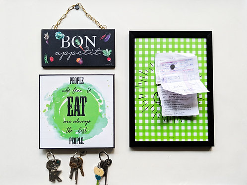 Eat drink love magnet board + people who love to eat hooks + bon appetit