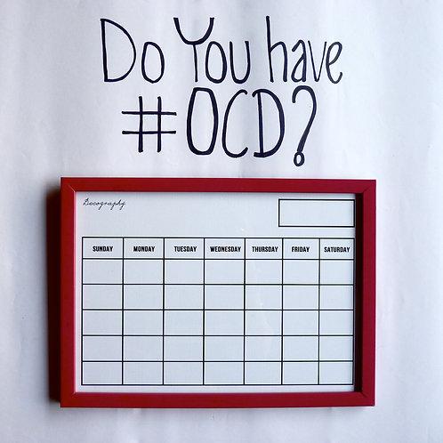 Write and erase calendar -Red