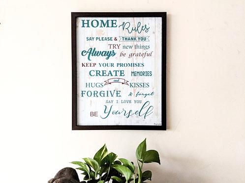 Home Rules -  Art frame