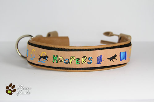 """Halsband """"Hoopers Agility"""" mit Lederpolsterung"""