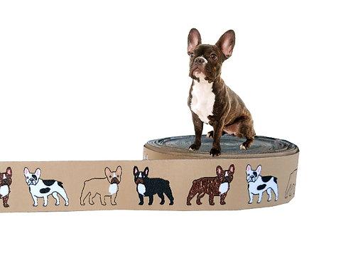 """(3,35€/m) 1m Webband """"Französische Bulldogge beige"""", 25mm"""